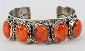 Harold Joe Sterling Heavy Spiny Oyster Bracelet