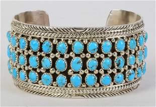 Native American Sterling Kingman Turquoise Cuff