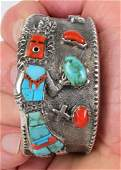 Lester James Sterling Tufa Cast Yei Dancer Bracelet
