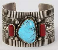 Navajo Sterling Castle Dome Turquoise & Coral Cuff