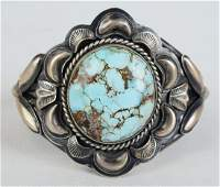 Bobby Johnson Golden Hills Turquoise Repousse Cuff