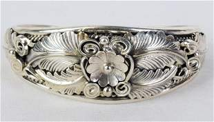Native American Sterling Feather Cuff Bracelet