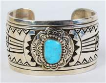 E. Wylie Castle Dome Turquoise Overlay Bracelet