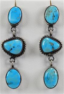 Native American Sterling Campitos Turquoise Earrings