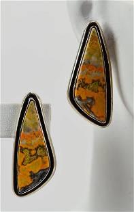 Leonard Nez Sterling Bumble Bee Jasper Earrings