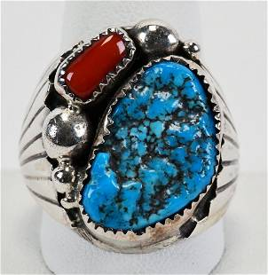 Navajo Sterling Turquoise & Coral Men's Ring