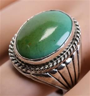 Navajo Vintage Fox Turquoise Men's Ring