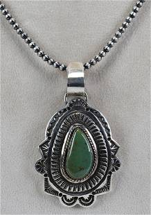 Navajo Sterling Royston Turquoise Pendant Necklace