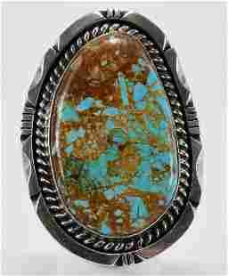 Eddie Secatero Sterling Kingman Turquoise Lg. Ring