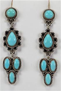 C. Wylie Sterling Blue Moon Turquoise Earrings