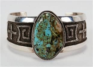 Navajo Sterling No. 8 Turquoise Tufa Cast Bracelet