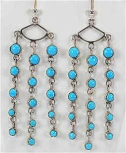 Navajo Sterling Sleeping Beauty Turquoise Earrings