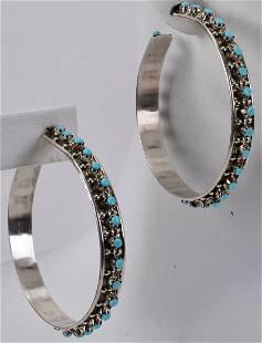 Zuni, Joaan Cheama Sterling Snake Eye Hoop Earrings