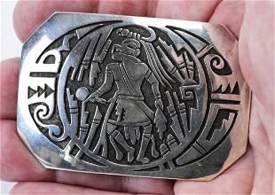 Native American Sterling Kachina Dancer Belt Buckle