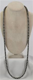 """Native American Sterling 36"""" Bench Bead Necklace"""