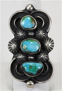 Navajo Sterling Blue Diamond Turquoise Ring