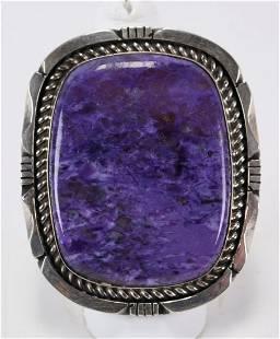 Eddie Secatero Sterling Silver Lg. Charoite Ring