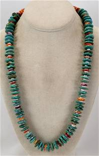 Native American Turquoise & Spiny Oyster Necklace