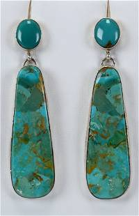 B, Begay Sterling Silver Long Natural Turquoise Earring
