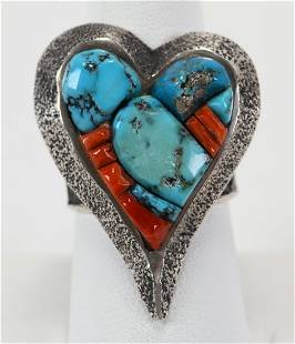 Lester James Sterling Tufa Cast Inlay Heart Ring