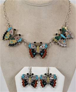 Tamara Pinto, Zuni, Inlay Butterfly Necklace Set