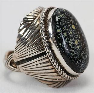 Native American Sterling Huge Chalcociderite Ring
