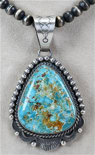 Mary Ann Spencer Sterling Royston Turquoise Pendant