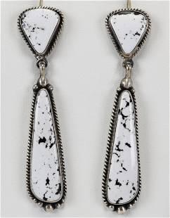 Elouise Kee Sterling White Buffalo Turquoise Earrings
