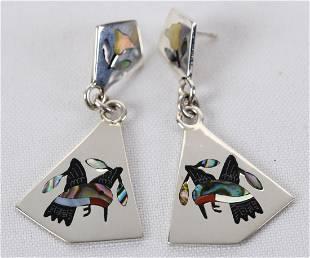 Stanford Edakie, Zuni, Hand Inlay Hummingbird Earrings