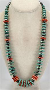 Navajo Sterling Turquoise & Spiny Oyster Necklace