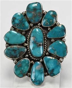 J. Draper, Sterling Morenci Turquoise Huge Ring