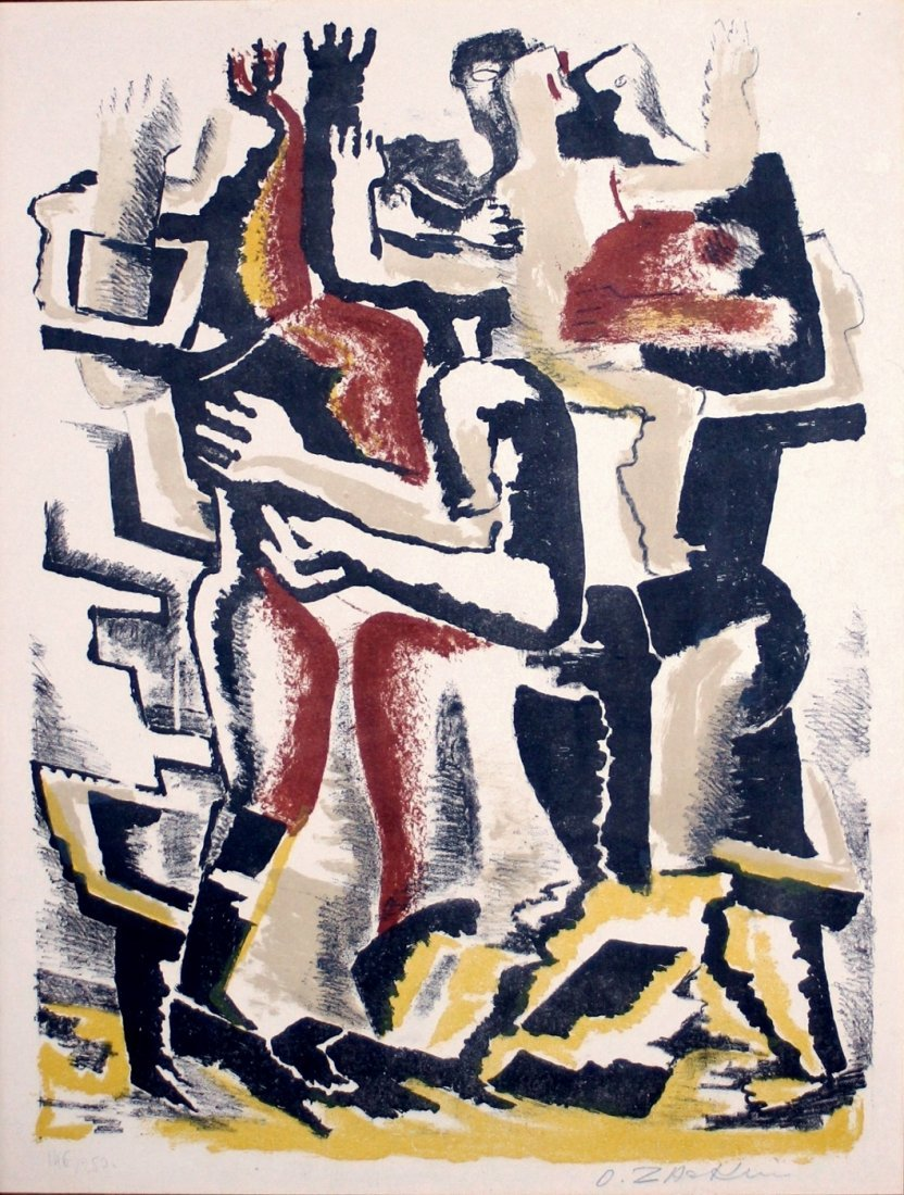 Ossip Zadkine: Les Rois Mages. 1953 Signed Lithograph