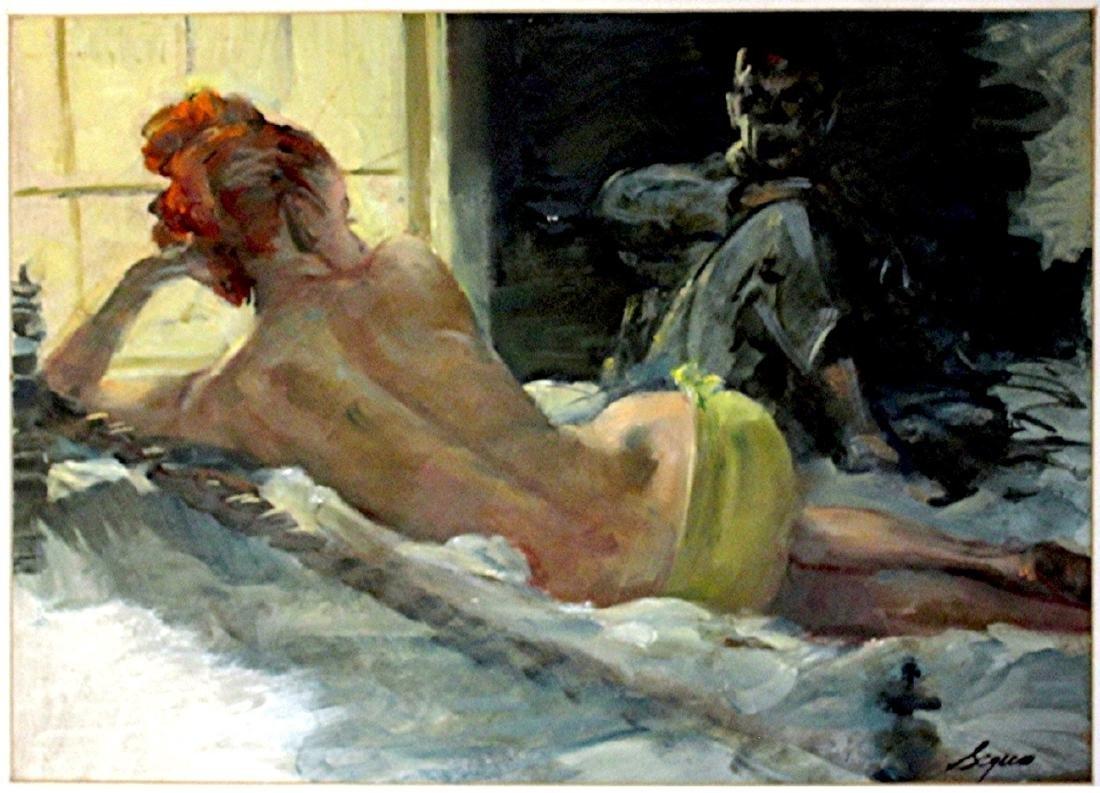 Armando Seguso: Evening Visitor. Oil on Board. 1950s