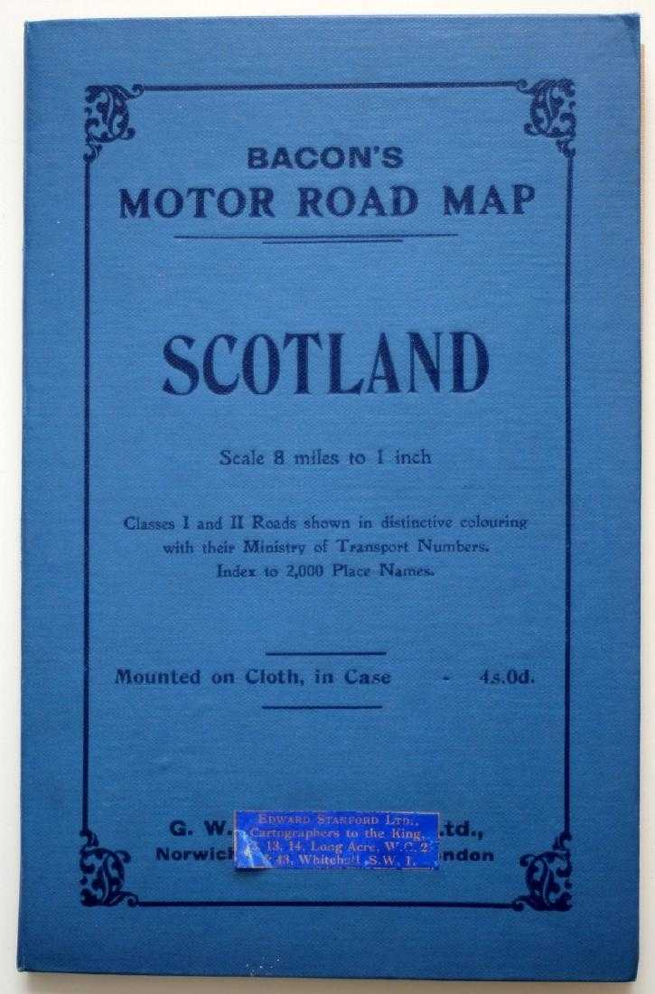 Bacons Motor Road Map c 1930s Scotland Cloth