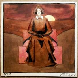 Konstantin Chebotarev Untitled Watercolor (Woman). 1919