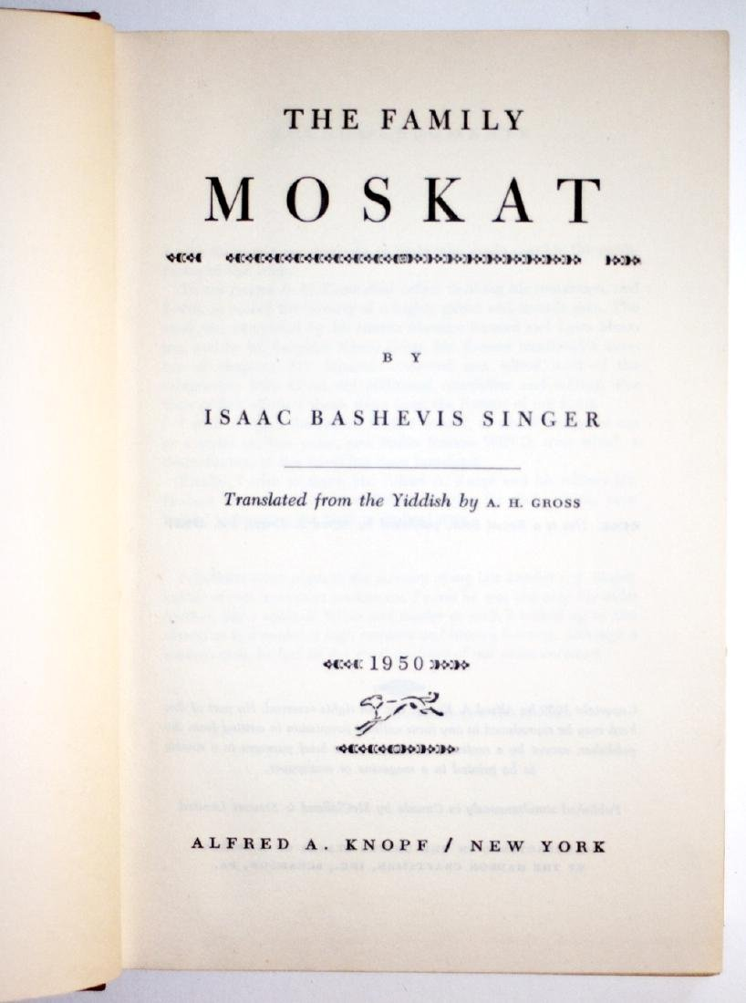 Isaac Bashevis Singer: The Family Moskat 1950 Inscribed - 4