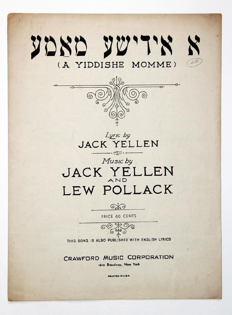 My Yiddishe Momme Sheet Music, 1925 First Edition