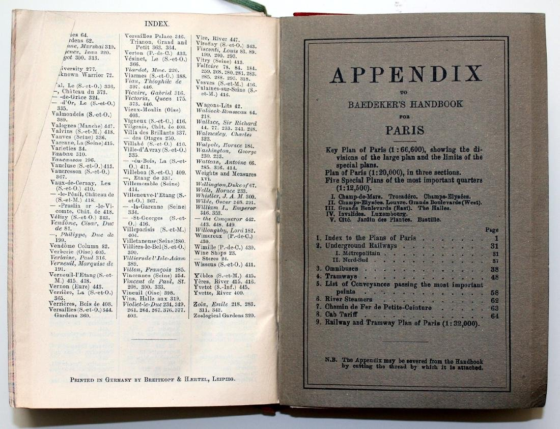 Baedeker 1924 Handbook: Paris & its Environs - 5