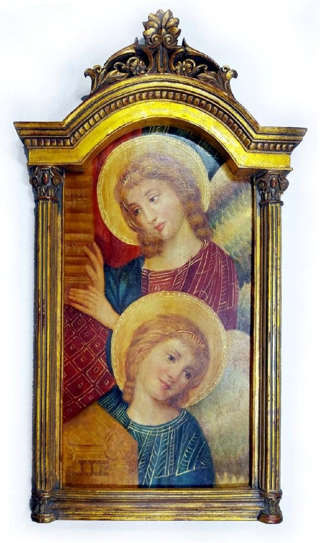 Visitation of Mary to Elizabeth Oil on Wood Altar Piece