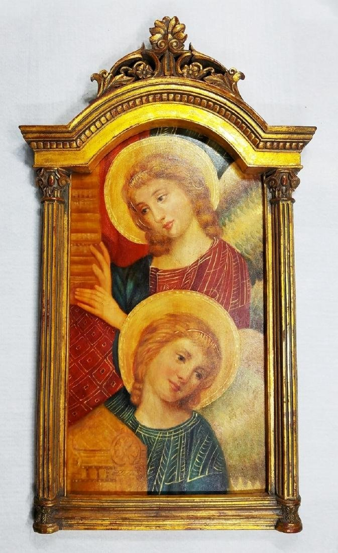 Visitation of Mary to Elizabeth Oil on Wood Altar Piece - 2