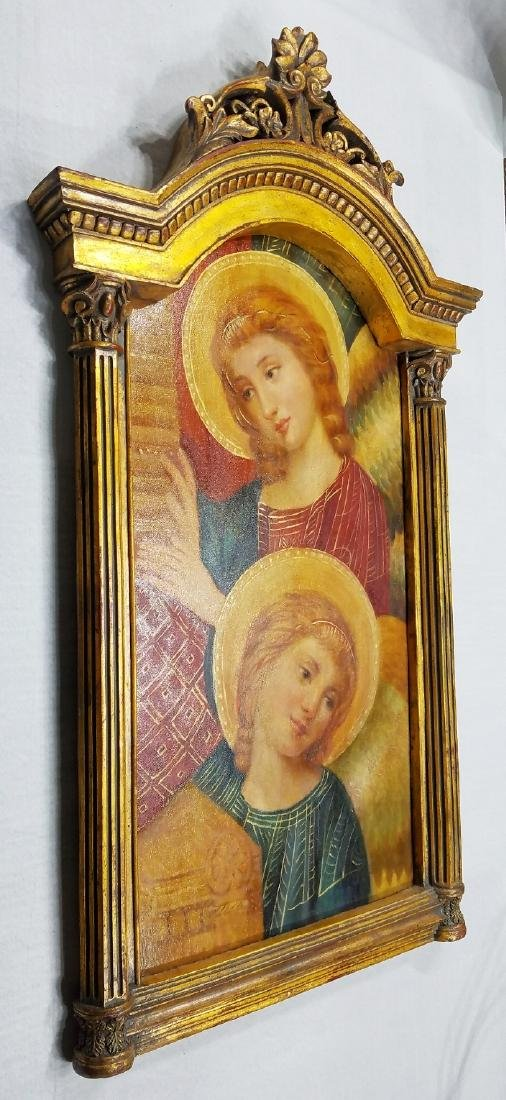 Visitation of Mary to Elizabeth Oil on Wood Altar Piece - 3