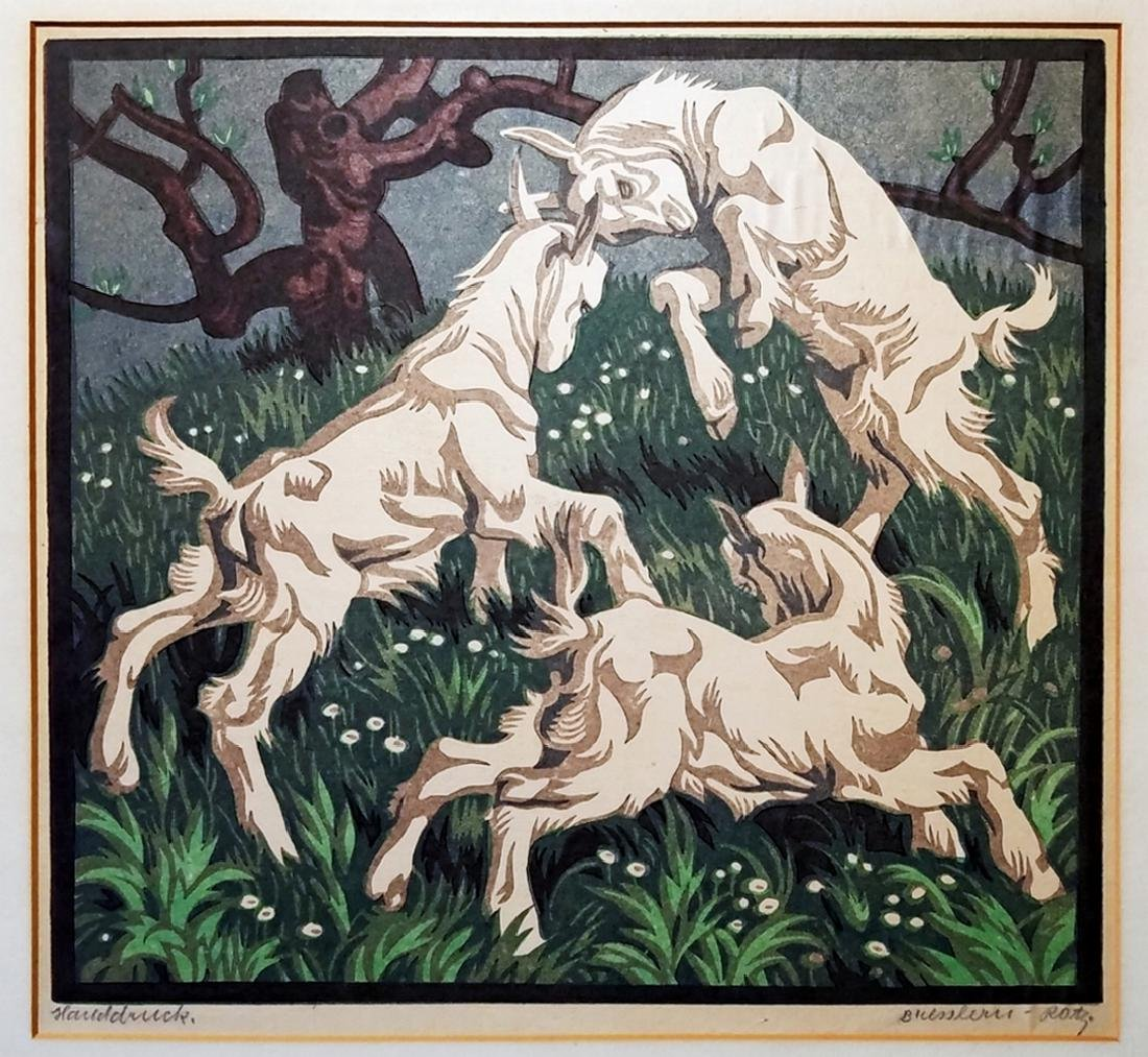Norbertine Bresslern-Roth: Youth. Color Linocut c.1925