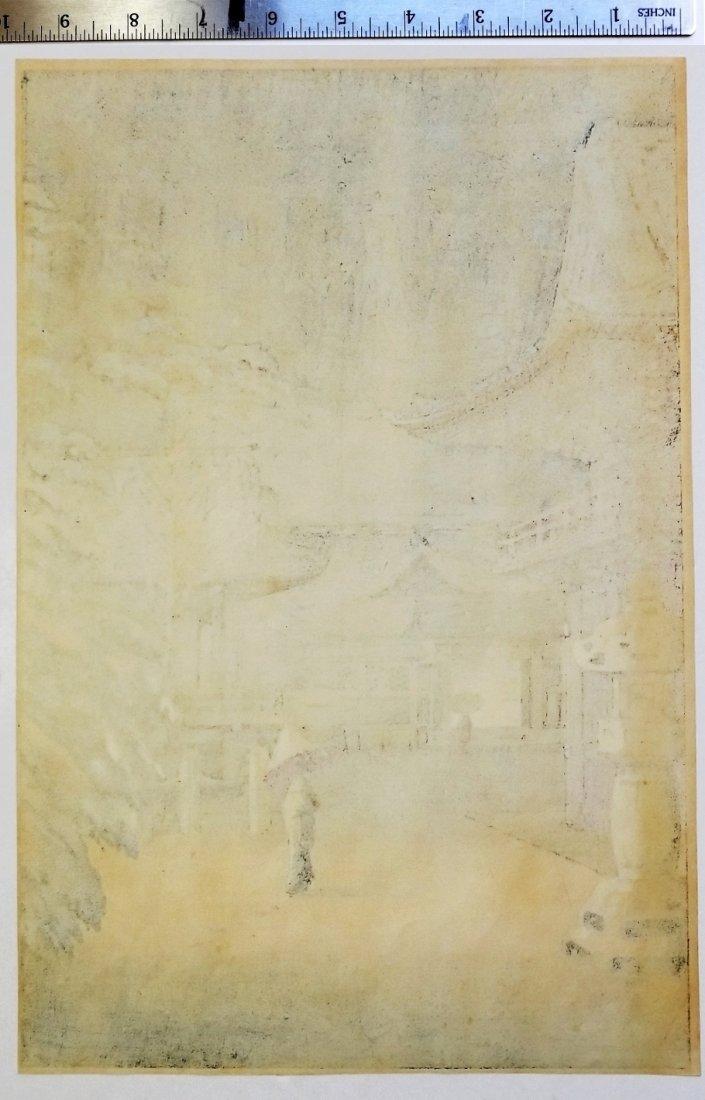 Tsuchiya Koitsu: Snow at Nezu Shrine. 1934 Shin Hanga - 3