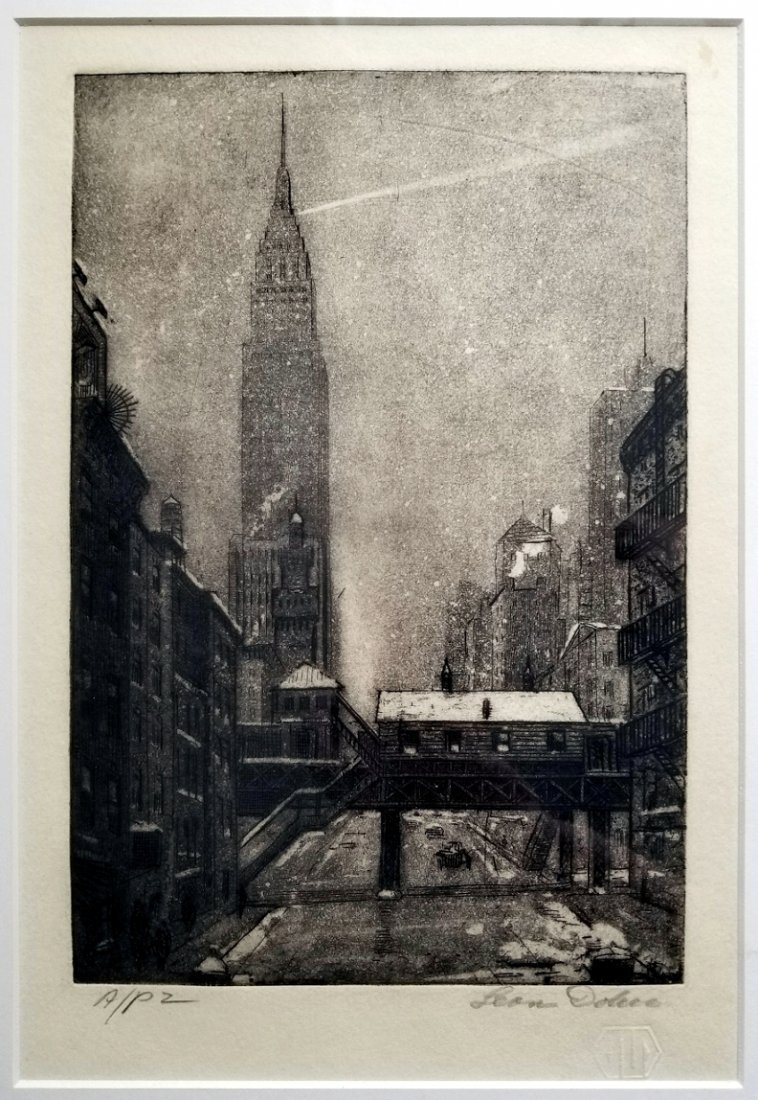 Leon L. Dolice: E.34th Street New York 1951 A/P Etching