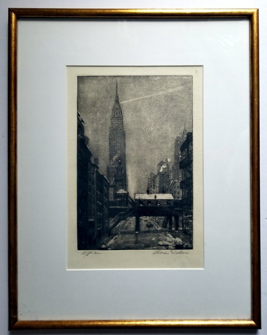 Leon L. Dolice: E.34th Street New York 1951 A/P Etching - 2