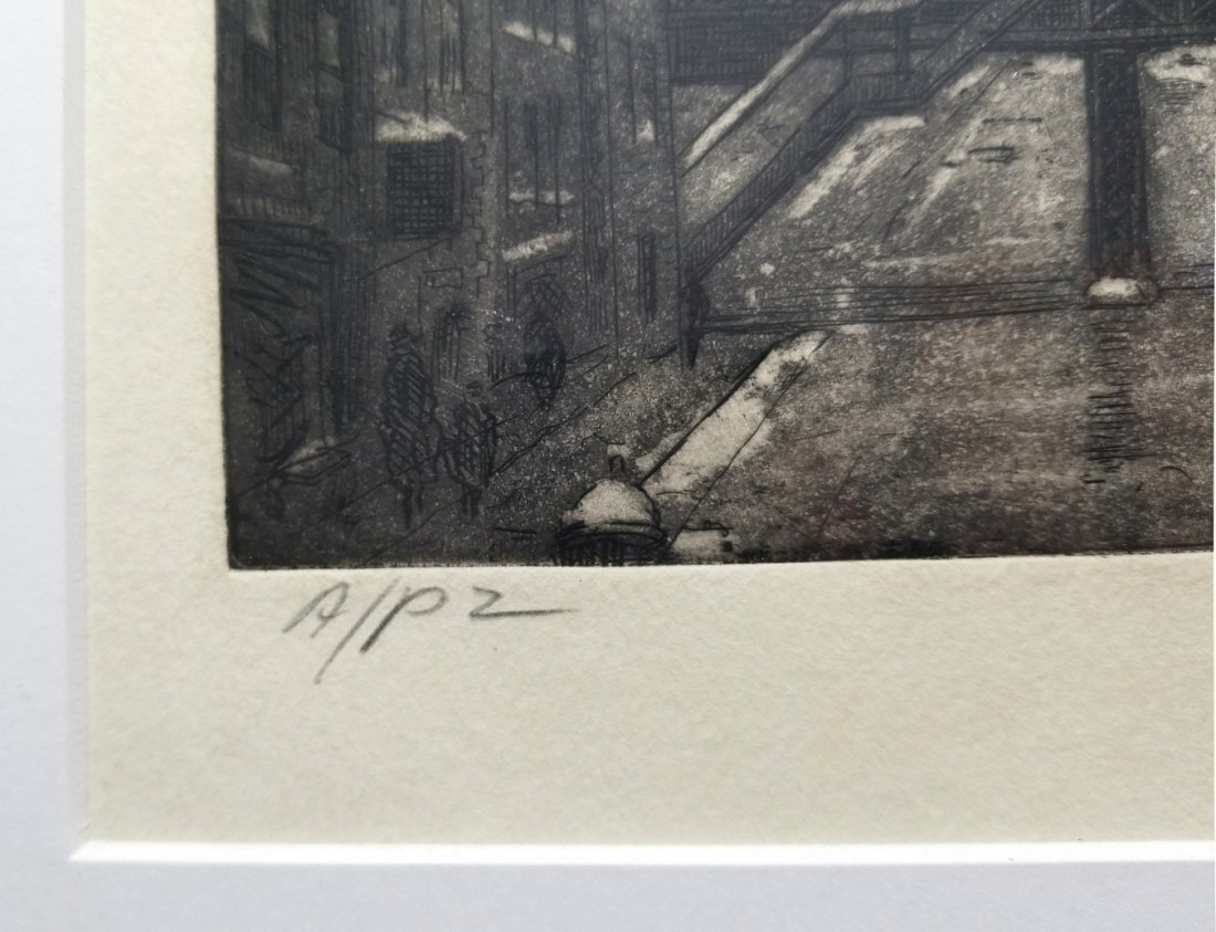 Leon L. Dolice: E.34th Street New York 1951 A/P Etching - 4