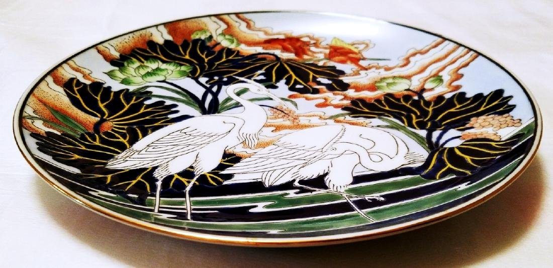 Japanese Unmarked Embossed Plate Herons on Lily Pond - 10