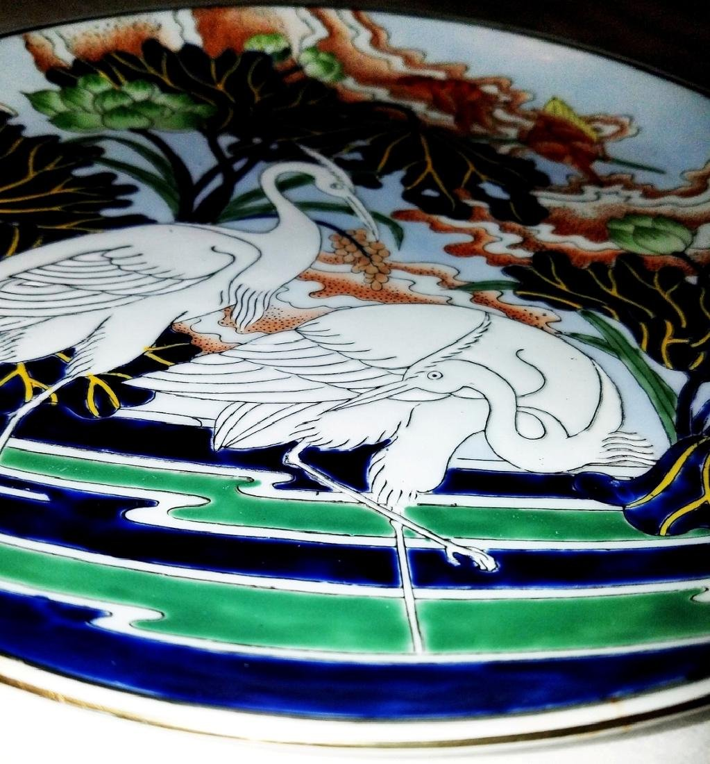Japanese Unmarked Embossed Plate Herons on Lily Pond - 6