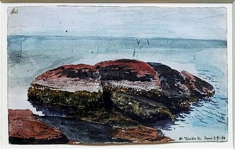 Charles DeWolf Brownell: Thimble Island 1854 watercolor