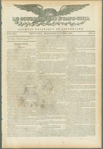 1: Le Courrier des États-Unis , 1836